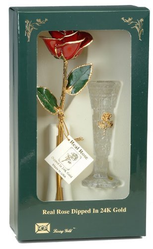 Red 24k Gold Rose with Crystal Vase - Real Rose Dipped in Gold