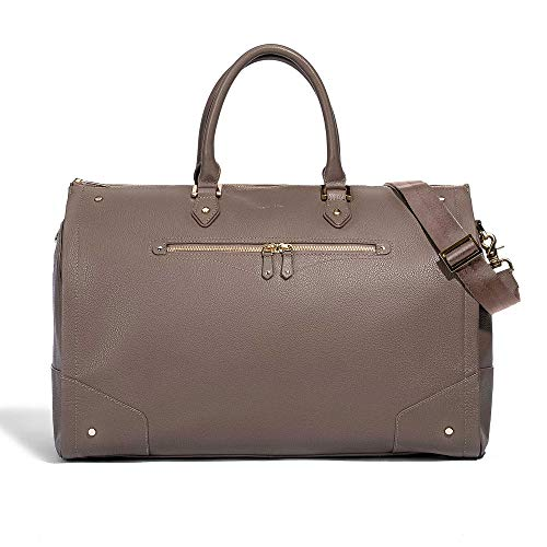 Hook & Albert Taupe Leather Women's Garment Weekender Carry On