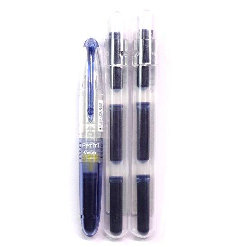 Pilot Petit1, Fountain pen-style pen, Fine Nib, Blue Black (SPN-20F-BB) + Ink Cartridges (IRF-10SPN- BB)2p Set (Japan Import) [Komainu-Dou Original - Writing Bb Mini