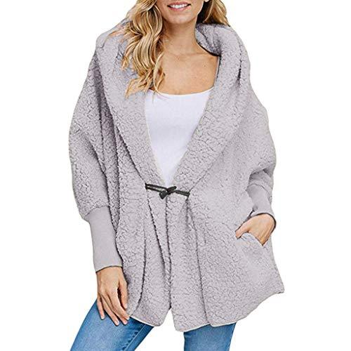 AgrinTol Women's Button Pocket Coat Outwear Winter Hooded