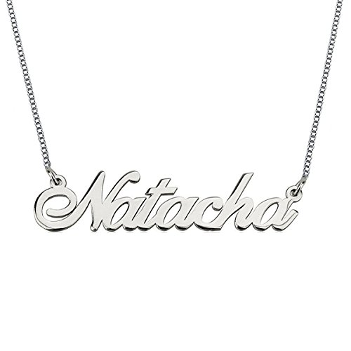 HACOOL Personalized Necklace, Custom Name Necklaces 18K White Gold Pendant for her Thanksgiving Day Birthday Gift (Birthday Wishes For A 15 Year Old Niece)