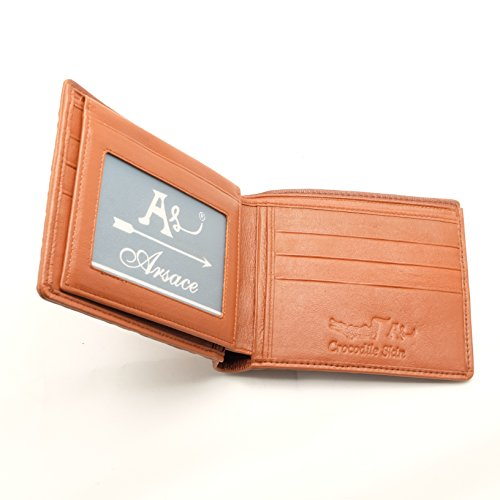 Alligator Wallet Crocodile Leather card Bifold Dark Genuine Slim New Brown Men YwEqa1