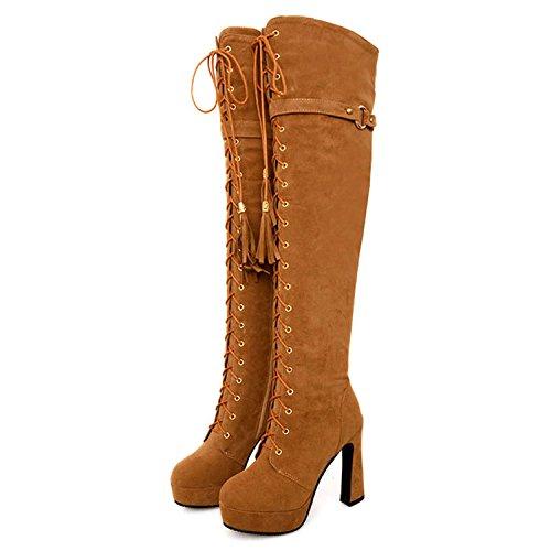 Nonbrand Women's Block Heel Synthetic Over Knee Boots Camel kfXJJVOz7s