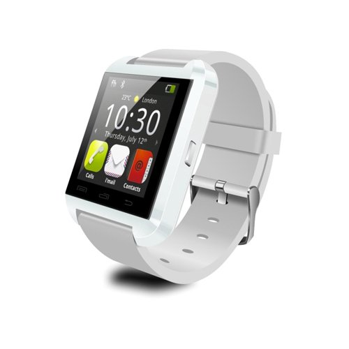 U8 Wearable Smartwatch,Bluetooth3.0 Camera Message Media Control/Hands-Free Calls/Anti-lost for Android/iOS Smartphone Samsung HTC iphone Huawei Nokia Moto LG White