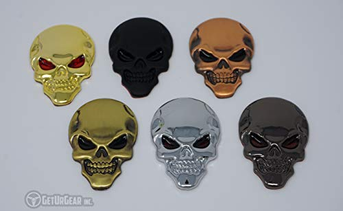 (GetUrGear 2x 3D Skull Badge Metal Car Motorcycle Decal Emblem Set (Pewter))