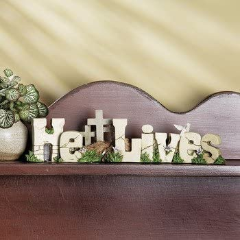 Fe Otc Christian Resin Home Decor He Lives Tabletopper By Terrys Village Amazon Ca Home Kitchen