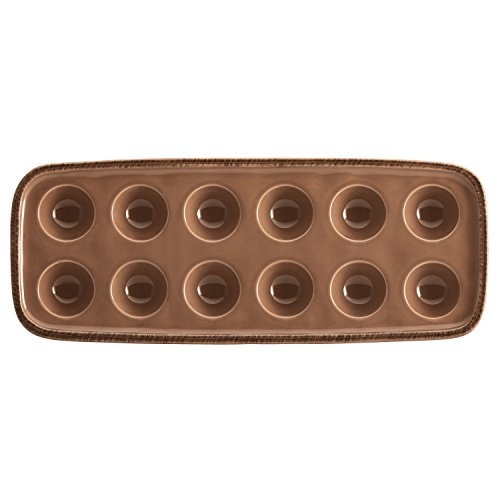 Rachael Ray Cucina Dinnerware 14.25-Inch x 5.5-Inch Stoneware Egg Tray, Mushroom Brown