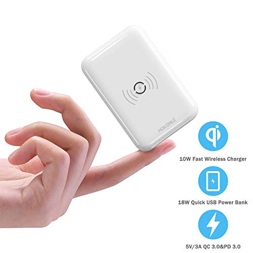 Wireless Portable Chargers 10000mAh, Hokonui Fast Wireless Charger Smallest Portable Charger with High-Speed 18W PD 3.0,QC 3.0 Port and LCD Display USB-C Power Bank for iPhone,Samsung and More -White