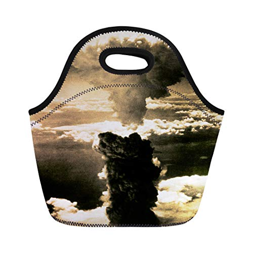 Semtomn Lunch Tote Bag Atomic Bomb Mushroom Cloud Rises More Than 60 000 Reusable Neoprene Insulated Thermal Outdoor Picnic Lunchbox for Men Women