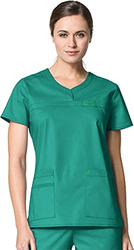 WonderWink Wonderflex Women's Patience Curved Notch Solid Scrub Top Medium Real Teal by WonderWink