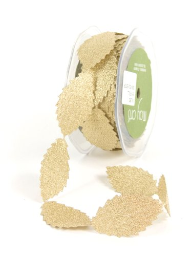 May Arts 1-Inch Wide Ribbon, Metallic Gold Leaves ()