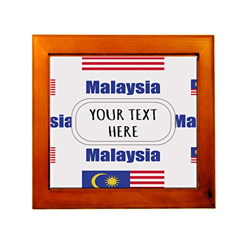 Ceramic Tile in Wood Frame Custom Malaysia Country Flag Pattern ()