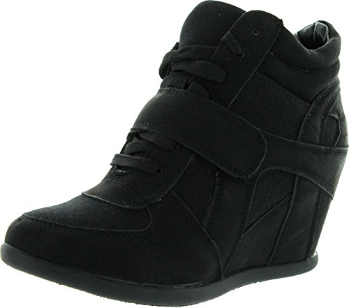 TOP Moda SAMMY-40 High Top Velcro Womens Hidden Wedge Sneaker Shoes, Black 10