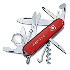 Add custom engraving to the Explorer Swiss Army Knife by Victorinox. Welcome to the world of the Officer's knife. This is where the legend of the Swiss Army Knife began. And it continues today with the Explorer pocket knife. Its 16 functions ...