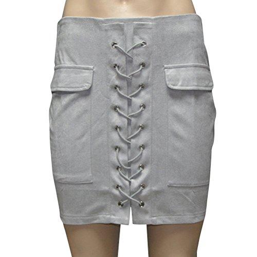 Gris Retro Femme Mini Haute Jupe A Courte Jupe Cuir Taille Mini Oudan Zipp Jupe Faux Line ZxfqA45w