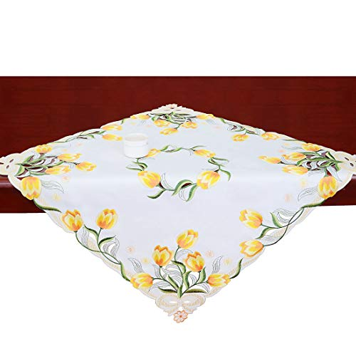Simhomsen Small Embroidered Tulip Floral Square Tablecloth for Spring and Easters, Toppers, Tablecovers for End Table, Tea Table, Coffee Table and Nightstand (Yellow, 33 × 33 Inch) ()