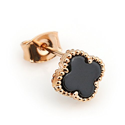 United Elegance - Delicate Rose Gold Tone Designer Clover Earrings with Black Faux Onyx (Onyx (Pearl Clover Necklace)
