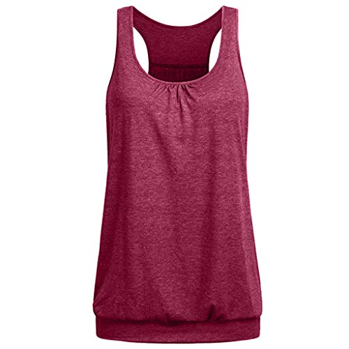 Todaies Womens Tank Top for Women Variety Colors Sleeveless Round Neck Wrinkled Loose Fit (L, Red 2)]()