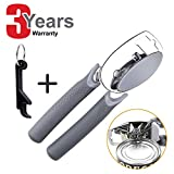 Manual Can Opener, Can Opener Manual Smooth Edge Manual Can Openers for Seniors With Arthritis Bottle Opener for Weak Hands a gift for parents, elder, Seniors(5 Functions) (gray)