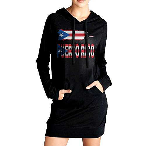 SHIRT-6 Puerto Rico Map Flag and Text Womens Long Sleeve Hoodie Sweatshirt Pullover | Tunic Slim Pockets Dress Christmas Color Pages Printable