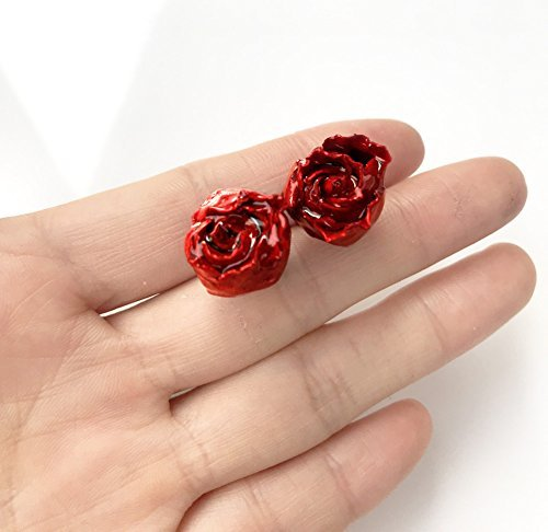 Echte Blume Ohrringe Echte Rote Rose Romantische Geschenk
