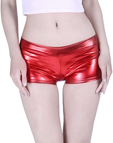 HDE Women's Shiny Metallic Booty Shorts Liquid Wet Look Hot Pants Dance Bottoms,Red,Large