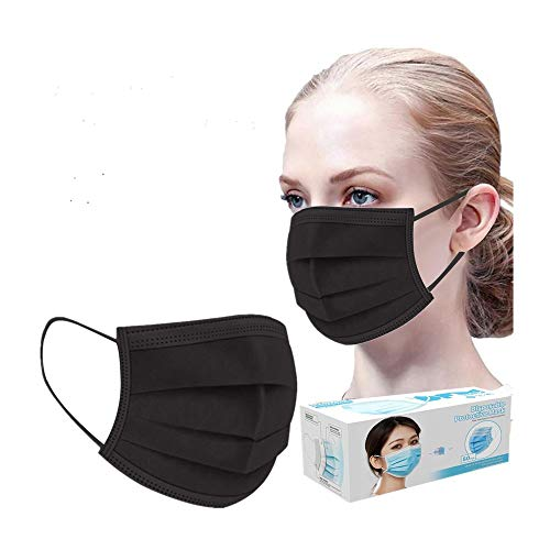 (US Stock) Wendyy 3 Ply Non-Woven, 100Pcs Disposable Face Bandanas (Black)