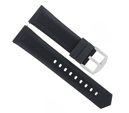 Rubber Breitling Strap (20MM Rubber Watch Strap Band for BREITLING Pilot, COLT, SUPEROCEAN Black 7P)