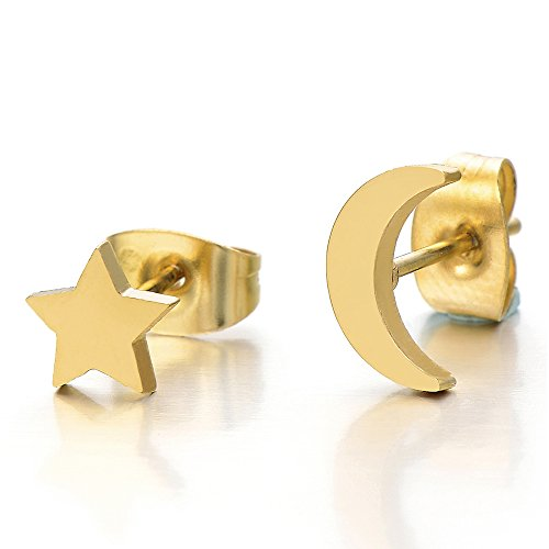 Pair Gold Color Moon and Star Stainless Steel Plain Stud Earrings for Women and Girls