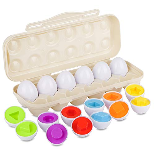 Hhyn Matching Eggs Set, Upgraded Toddler Egg Toys Learning Shapes and Colors Educational Puzzle Sorting Games Improve Motor Skills, 12 Eggs, Beige]()