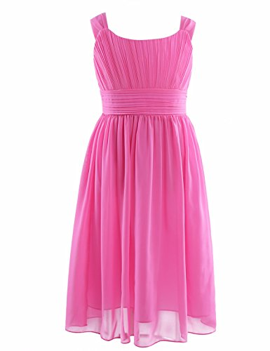 (FEESHOW Kids Big Girls Sleeveless Chiffon Pleated Dress Wedding Bridesmaid Party Flower Girl Dress Hot Pink 8)