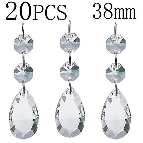 Chandelier Beads 20 Pcs Pendants Teardrop Lamp Chain Crystal Pendants Glass Pendants Beads Christmas Decoration 38mm (Christmas Pendant Christmas Decoration)