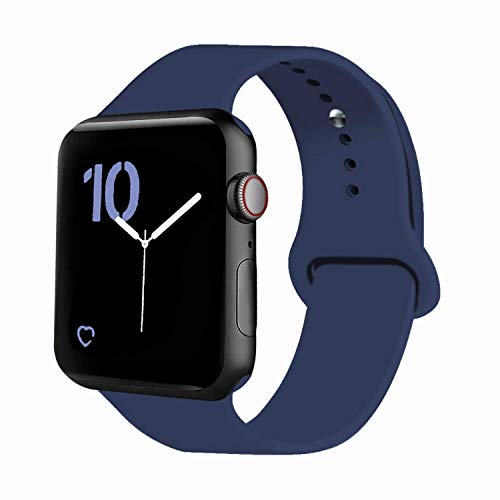VATI Sport Band Compatible for Apple Watch Band 38mm 40mm, Soft Silicone Sport Strap Replacement Bands Compatible with 2019 Apple Watch Series 5, iWatch 4/3/2/1, 38MM 40MM M/L (Midnight Blue) (Apple Ipod Strap)