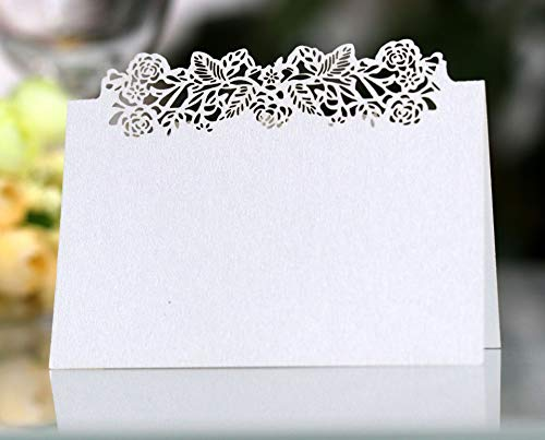 Cozy Villa 25 Pack Place Cards 4.6'' x 3.5'' White Small Tent Cards with Laser Cut Border, Perfect for Table Seating