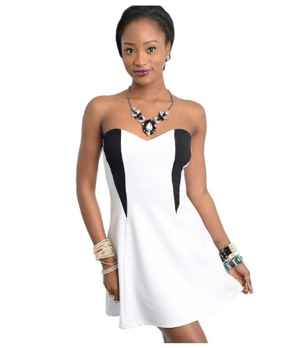 G2 Chic Womens Sweetheart Strapless Fit & Flare Cocktail Dress(DRS-EVPWHT-S)