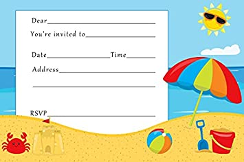 30 Invitaciones Para Ninos Cumpleanos Fiesta Playa Verano