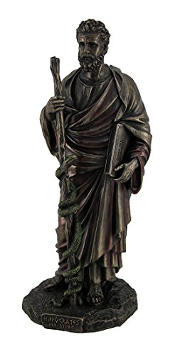 Resin Statues Hippocrates Greek Father Of Medicine Holding Book Staff Bronze Finish Statue 4 X 10 X 3.5 Inches Bronze