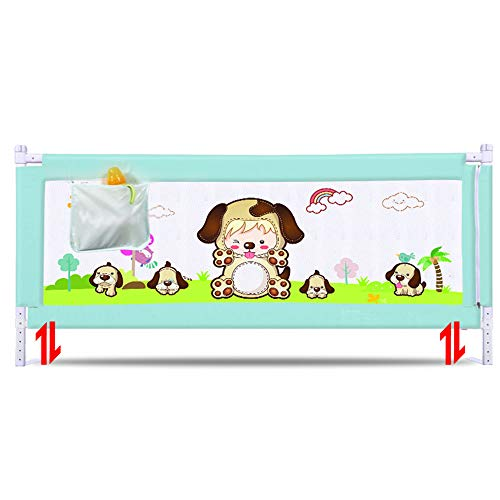 (Xyanzi-Bed Rails Children's Bed Guardrail Baby Cot Anti-Fall Safety Fences 1.8-2 Meters Large Bed Baffle, 3 Colors (Size : Green-1.5M))