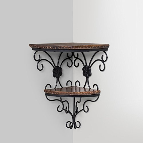 Onlineshoppee Beautiful Wooden Decorative Corner Wall Hanging Bracket Shelf Wall Bracket Height: 18inches 45 Cm, Length: 14 Inches 35 Cm, Width: 10 Inches 25 Cm Brown by Onlineshoppee