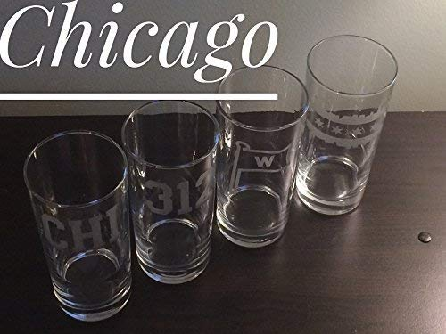 Chicago Glasses - Chicago Tall Water Glasses - Four Glasses - Chicago - Windy City - Chicago Barware - Chicago -