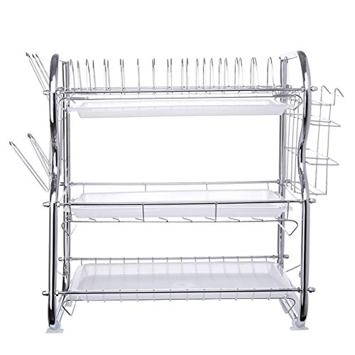 Nivalkid Fast Shipment Dual Layers 3-Tier Dish Drying Rack Kitchen Collection Shelf Drainer Organizer US Stock Dish Rack Tableware Cutlery Improvement Kitchen Accessories (Silver) from Nivalkid