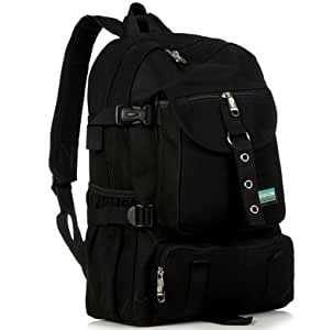 New Fashion arcuate shoulder strap zipper solid casual bag male backpack school bag canvas bag designer backpacks for men (Black Color)