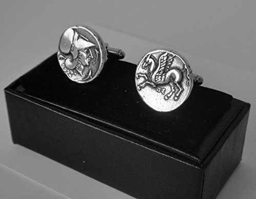 - Athena and Pegasus Coin Cuff Links, Goddess of Wisdom and Winged Horse, Greek Coins, Greek Mythology (2C-S)