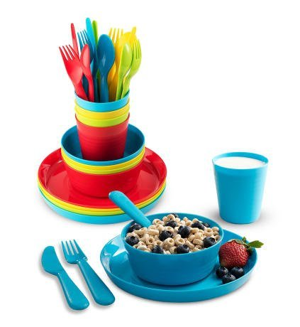 (Plastic Dinnerware Set of 4 By Plaskidy - 24 piece Kids dishes Set Includes, Kids Cups, Kids Plates, Kids Bowls, Flatware Set, Kids dinnerware set is Reusable, Microwave - Dishwasher Safe, BPA Free.)