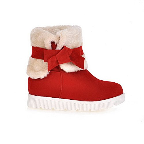 Heels Solid AgooLar Round Pull Frosted Red Low On Closed Boots Toe Women's wTA1a