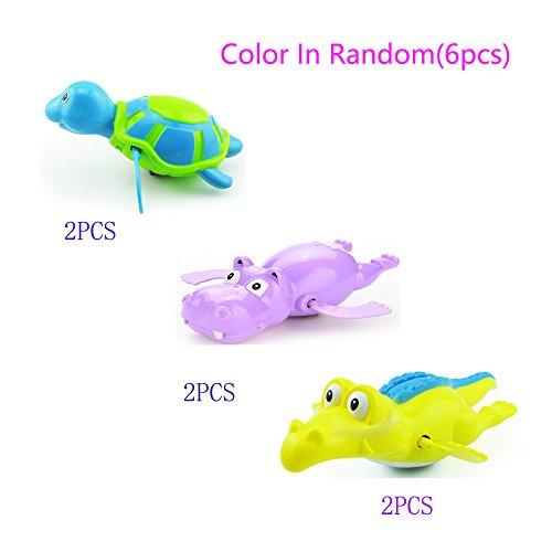 6 pcs Windup Swimming Shower Toy Clockwork Bath Toy ,Sea Animals Turtle,Hippo,Crocodile Fun Water Toy Sets Random (Womens Minnie Mouse Jumper)