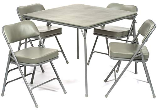 5pc. XL Series Folding Card Table and 2 in. Ultra Padded Chair Set, Commercial Quality, Grey
