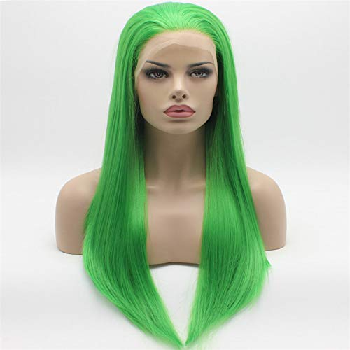 Lace Front Synthetic Wigs Straight Long 24inch Green Wig Hand Tied Heavy Density Realistic Wigs -
