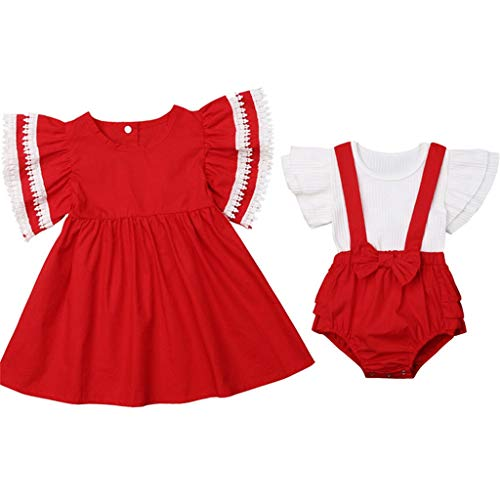 Christmas Sister Match Baby Girl Clothes Set Ruffle Sleeve Dress Top Bib Pants Girls Clothing Sister Matching Outfit 12-18M Red]()