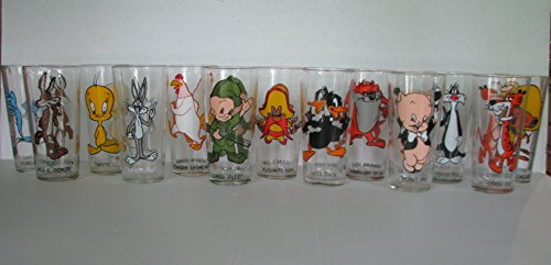 Glass Tunes Looney - Vintage 1973 Pepsi Looney Tunes Drinking Glasses - Set of 13